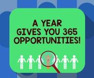 Der Handschriftstext, der ein Jahr schreibt, gibt Ihre 365 Gelegenheiten Motivationsinspiration Anfangs der Konzeptbedeutung neue stock abbildung