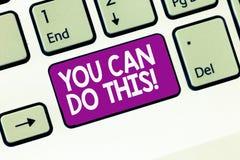 Der Handschriftstext, der Sie schreibt, kann dies tun Konzeptbedeutungsbegierde und -bereitwilligkeit, Herausforderungen im Leben lizenzfreies stockbild