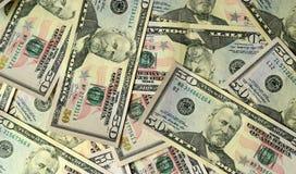 Der Haufen von Vereinigten Staaten fünfzig Dollarscheine Stockbild