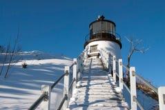 Der Hauptleuchtturm der Eule nach Winter-Sturm Lizenzfreie Stockfotografie