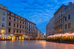 Der Hauptplatz der alten Stadt in Krakau Stockbild