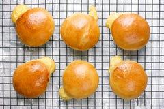 Der heiße Käse, der angefüllt wird, rollt, nachdem er auf abkühlendem Gestell gebacken hat lizenzfreie stockfotos