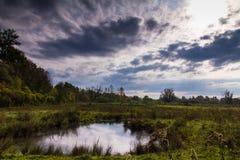 Der Himmel über dem Petite Camargue Alsacienne lizenzfreie stockfotos