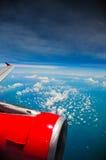 Der Himmel auf einem Flugzeug Stockbild