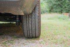 Der hintere Reifen von Autos parkte auf Gras Lizenzfreies Stockfoto