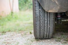 Der hintere Reifen von Autos parkte auf Gras Lizenzfreies Stockbild