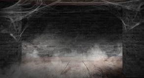 Der Hintergrund der alten Backsteinmauer, Sprünge in der Wand, Spinnennetz, Neonlicht vektor abbildung