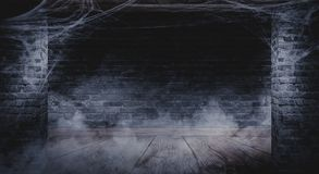 Der Hintergrund der alten Backsteinmauer, Sprünge in der Wand, Spinnennetz, Neonlicht stock abbildung