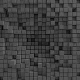 Der Hintergrund, der aus chaotisch zusammengedrückten Würfeln besteht, 3d übertragen, Illustration 3d Stockfotografie