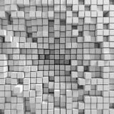Der Hintergrund, der aus chaotisch zusammengedrückten Würfeln besteht, 3d übertragen, Illustration 3d vektor abbildung