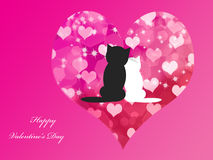 Der Hintergrund des Valentinsgrußes mit Katzen Stockbilder