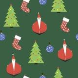 Der Hintergrund mit dem Bild von Santa Claus, Weihnachtsbäume, g Stockfotografie