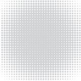 Der Hintergrund von grauen Punkten von den verschiedenen Größen, die unterschiedliche Dichte auf Weiß haben vektor abbildung