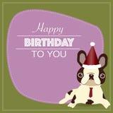 Der Hippie-Hund mit alles- Gute zum Geburtstagwort Lizenzfreies Stockfoto