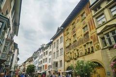Der historische alte Abstieg und die Straße von Schaffhausen Lizenzfreies Stockfoto