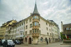 Der historische alte Abstieg und die Straße von Schaffhausen Lizenzfreie Stockfotos