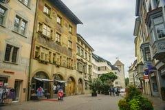 Der historische alte Abstieg und die Straße von Schaffhausen Stockfotografie