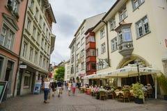 Der historische alte Abstieg und die Straße von Schaffhausen Lizenzfreie Stockbilder