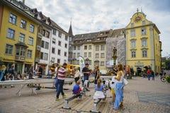 Der historische alte Abstieg und die Straße von Schaffhausen Stockfoto