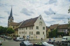 Der historische alte Abstieg und die Straße von Schaffhausen Stockbilder