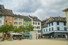Der historische alte Abstieg und die Straße von Schaffhausen Stockbild