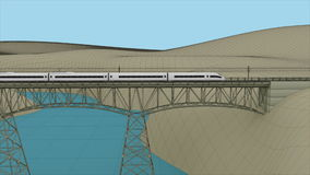 Der Hochgeschwindigkeitszug, der durch die Brücke überschreitet Lizenzfreie Stockfotos