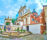 Der Hof von St. Andrew Church in Krakau, Polen stockfotografie