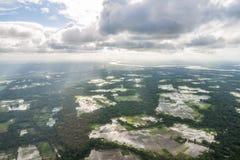 Der Hubschrauber geschossen von Dhaka, Bangladesch stockfotografie