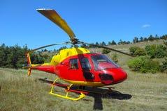 Der Hubschrauber ist gelandet stockbild