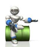 Der Humanoidroboter, der auf Trommeln sitzt, führt Sie Stockfotografie