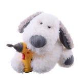 Der Hund ist ein Arbeiter mit einem Bohrgerät Stockfotos