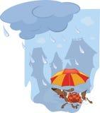 Der Hund und der Regenschirm vektor abbildung