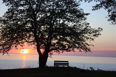 Der Huronsee bei Sonnenaufgang stockfotografie
