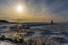 Der Huronsee-Leuchtturm im Winter Lizenzfreies Stockbild