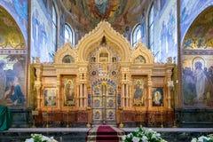 """Der Iconostasis des Tempels des Retters auf verschüttetem Blut Heiliges †""""Petersburg, Russland Lizenzfreie Stockfotos"""
