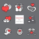 Der Ikonenillustrationen set4 des Valentinsgrußes graue rote Linie Lizenzfreies Stockbild