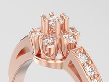 der Illustration 3D des Abschlusses Blumendiamant Rin oben dekorativer rosafarbenes Gold Stockfotografie