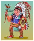Der Indianer in der schönen nationalen Kleidung Stockbilder