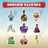 Der indische Satz von Elixieren Lizenzfreie Stockfotografie