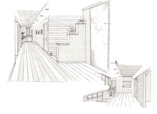 Der Innenraum der Halle Lizenzfreies Stockfoto