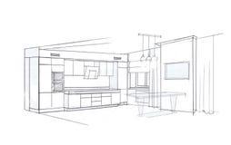 Der Innenraum der Küche Stockbild