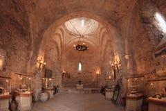 Der Innenraum der Kirche von Kish, Aserbaidschan Stockfotografie