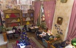 Der Innenraum des Cafés, stilisiert unter der alten sowjetischen Weise von L Stockfotografie