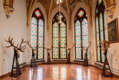 Der Innenraum des Schlosses Vajdahunyad in Budapest Stockfotografie