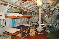 Der Innenraum des Unterseeboots, Achterntorpedofach Stockbild