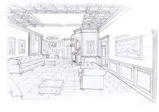 Der Innenraum des Wohnzimmers Stockfotografie