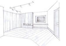 Der Innenraum des Wohnzimmers Stockbild