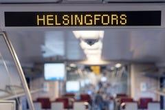 Der Innenraum des Zugreitens auf der Helsinki-Linie stockfoto