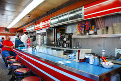 Der Innenraum von Mickeys-Speisewagen in St. Paul Minnesota Stockfotografie
