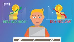 Der intelligente Händler, der kaufende cryptocurrency Operationen tut, verkaufen Hoch, kaufen Tief vektor abbildung